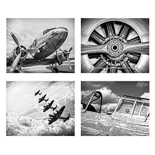 Wallables Classic Black & White Vintage Aviation Wall Art, Set of Four 8x10 Airplane Theme Decor Prints, Great for Mens Gift, Office, Home, Bachelor pad, Barbershop Decoration! Only at