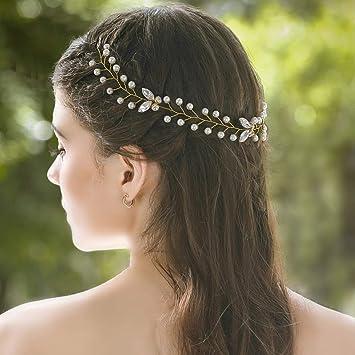 Freshwater Pearl /& Crystal Bridal Wedding Hair Vine Headpiece  Vintage Vine Pearl Wedding Hairpiece  Thin Wedding Headband Boho Chic Halo