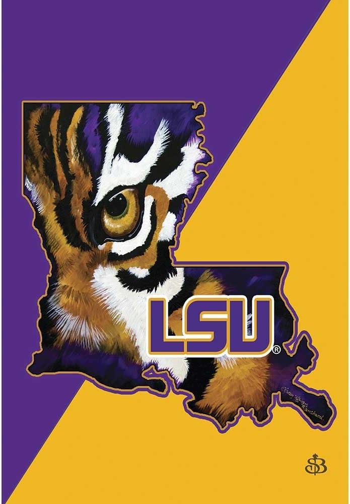 LSU Louisiana State Tigers Purple and Gold Tone 18 x 13 Rectangular Screenprint Small Garden Flag