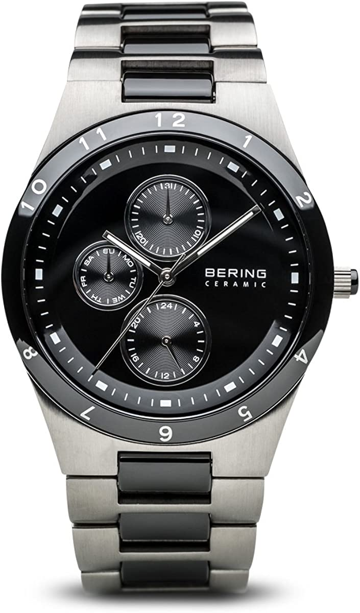 Bering Ceramic - Reloj analógico de caballero de cuarzo con correa de varios materiales multicolor - sumergible a 50 metros