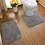 Ustide 100% Cotton Bathroom Rug Set - (Contour Toilet Rug and Bath Mat) 2 Piece Set - Grey
