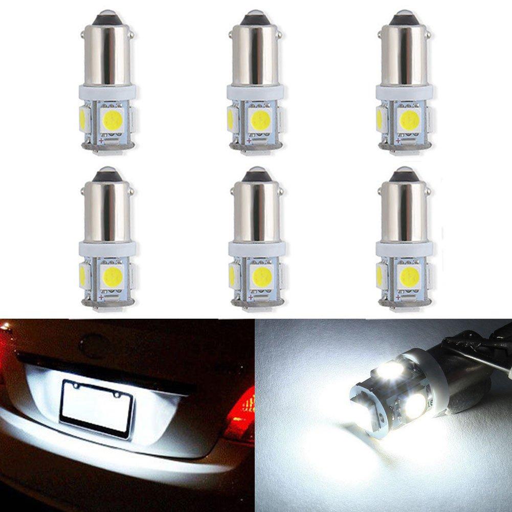 XT AUTO 6pcs Super Bright BA9 BA9s White 5-LED Bulb for RV Car Tail Backup Corner Side Marker Light