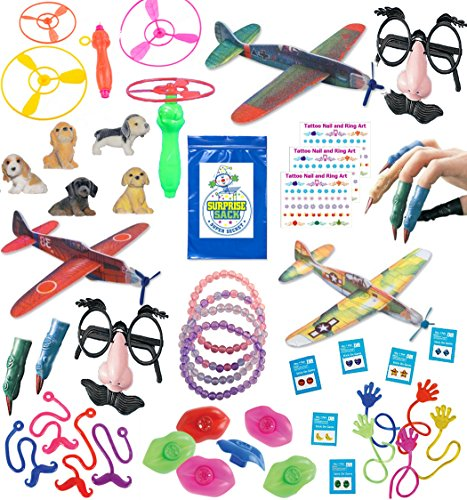 100 Pc Funtastic Toy Assortment (Includes: Glider Airplanes, Sticky Hands & Mustaches, Flying Saucers, Bracelets, and Other Small/medium Toys for Party Favor Bags, Piñata, Carnival Prizes, or School Classroom Rewards Box)