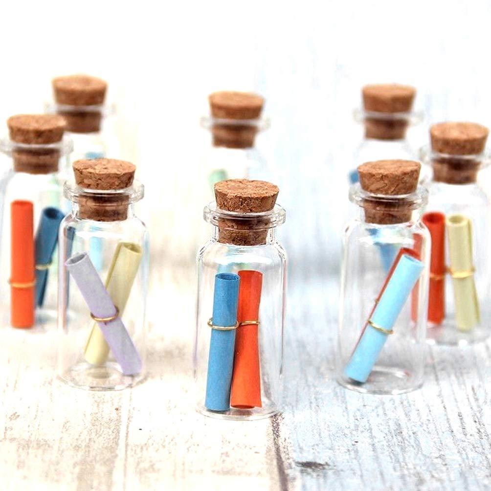 DOITOOL 20 Piezas Botellas de Vidrio Peque/ñas de 7 Ml Mini Botellas de Frascos de Vidrio Transparente con Tapones de Corcho para Manualidades