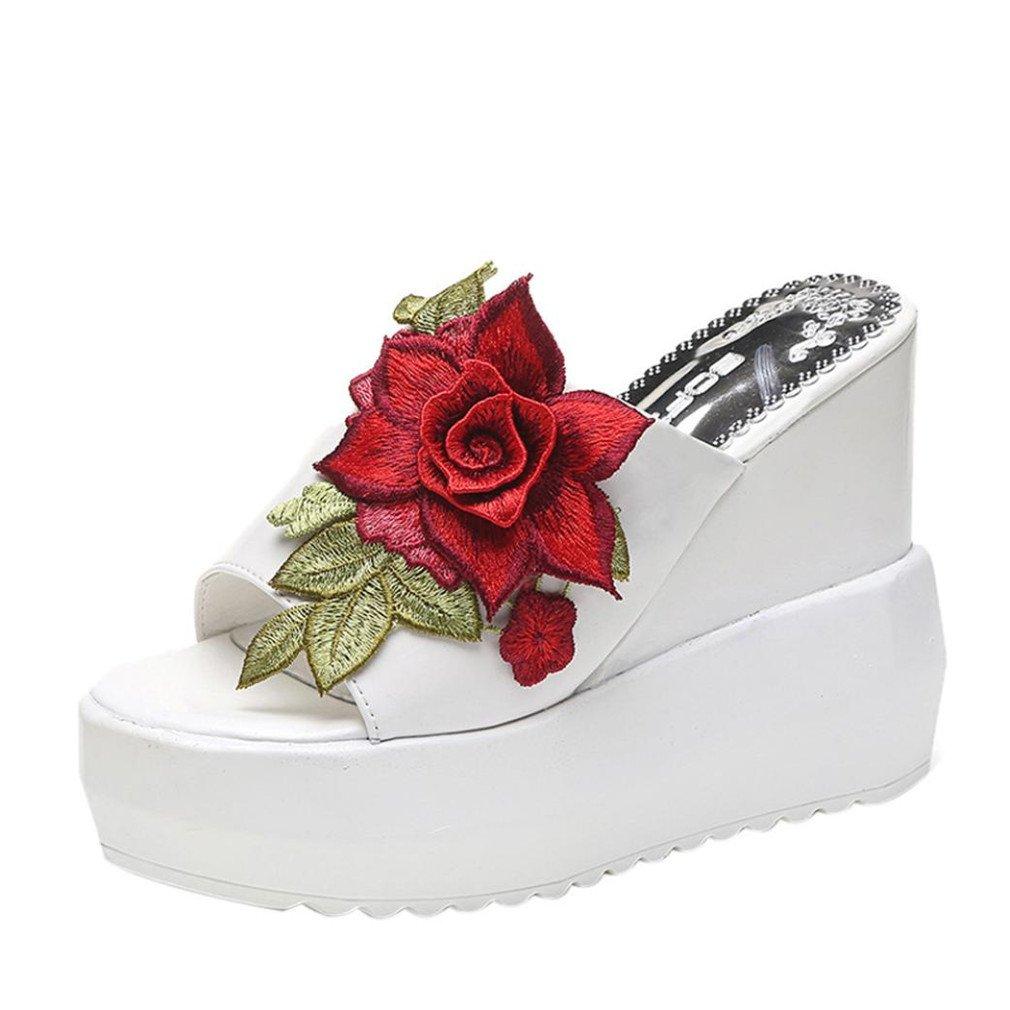 Chaussures Femme Été, GongzhuMM Sandales Compensées Femmes Tongs Broderie Fleurs Chaussures à Talons Hauts 11cm pour Femmes Confortable