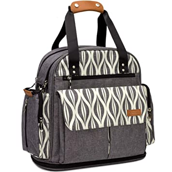 826e2211911 Amazon.com   Lekebaby Expandable Diaper Bag Backpack Tote Messenger Bag for  Mom and Girl in Grey   Baby