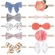 Nylon Newborn Headbands Baby Girl Bow Headband Infant Bows Head Cap Hair Band (Multicolor-ST10)