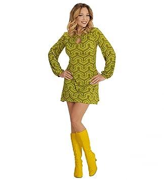 70er Jahre Retro KLEID mit Tapetenmuster Grün Disco Damen Kostüm Siebziger 70s, Größe:S