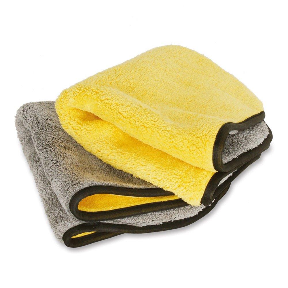 Liquid X Super Plush Premium Professional Grade Microfiber Drying Towel Gray/Yellow Towels (2 Pack)