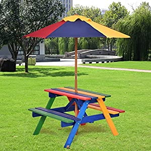 Costways Kids Picnic Table Umbrella and Bench Set 4 Seat Camping Table for Garden Yard. Folding Ferniture made with Durable Wood. Children Bench Outdoor Social Play and Interaction New