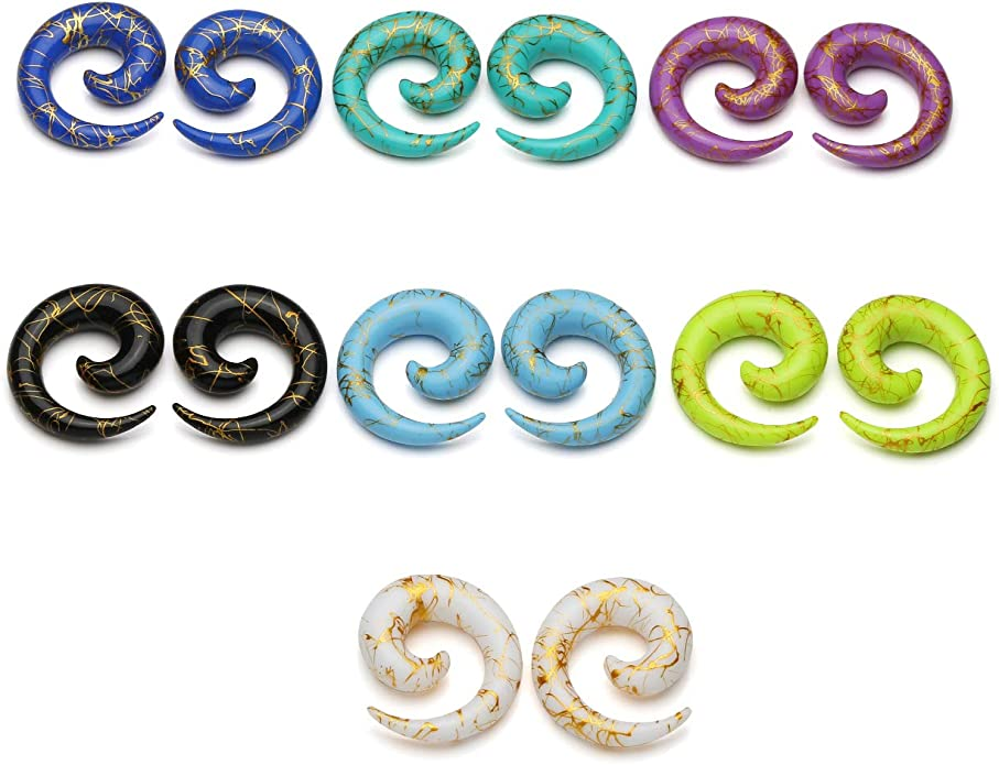 Zaya Body Jewelry 8 Pair Assortment Mix of Ear Plugs Tapers Spirals Tunnels Acrylic Steel Organic Gauges Sizes 8g-5//8