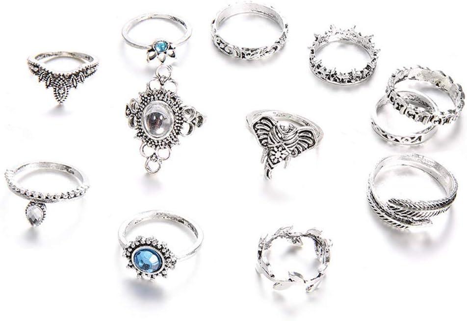 Juego de 12 anillos de ópalo de fuego vintage para mujer, estilo bohemio