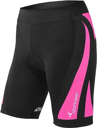 Sportneer Fietsbroek Dames Fietsbroek Dames 4D Gewatteerde Fietsondergoed Shorts w/Slip Ontwerp, Ademend & Adsorbens, S - 2XL