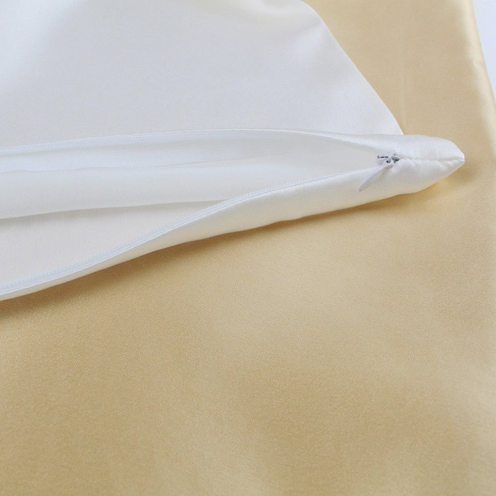 suave seda pura funda de almohada para el pelo y la belleza facial cierre Queen plateado y gris Funda de almohada Tama/ño libre blanco