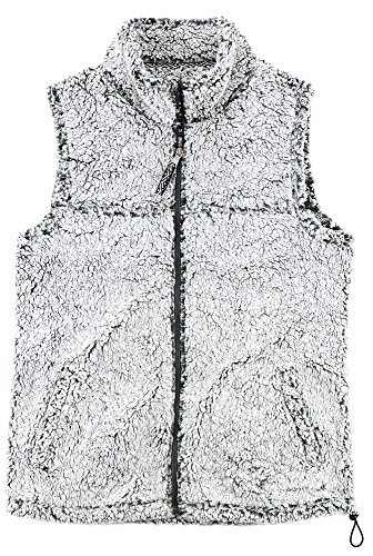boxercraft Adult Super Soft Full Zip Sherpa Vest-Smokey Grey