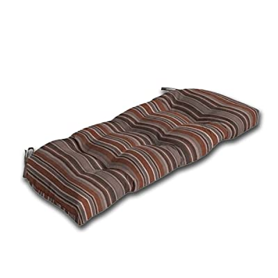 Comfort Classics Inc. Outdoor Wicker Settee Cushion for Patio 18x41.5x5, Polyester Fabric in Nevada Stripe : Garden & Outdoor
