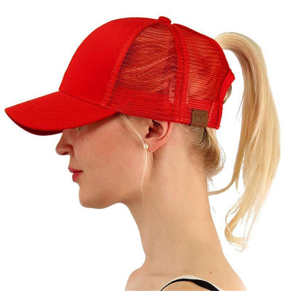 LEECCO Red Women Baseball Cap Hat Ponytail Messy Buns Trucker Ponycap Cap Hat