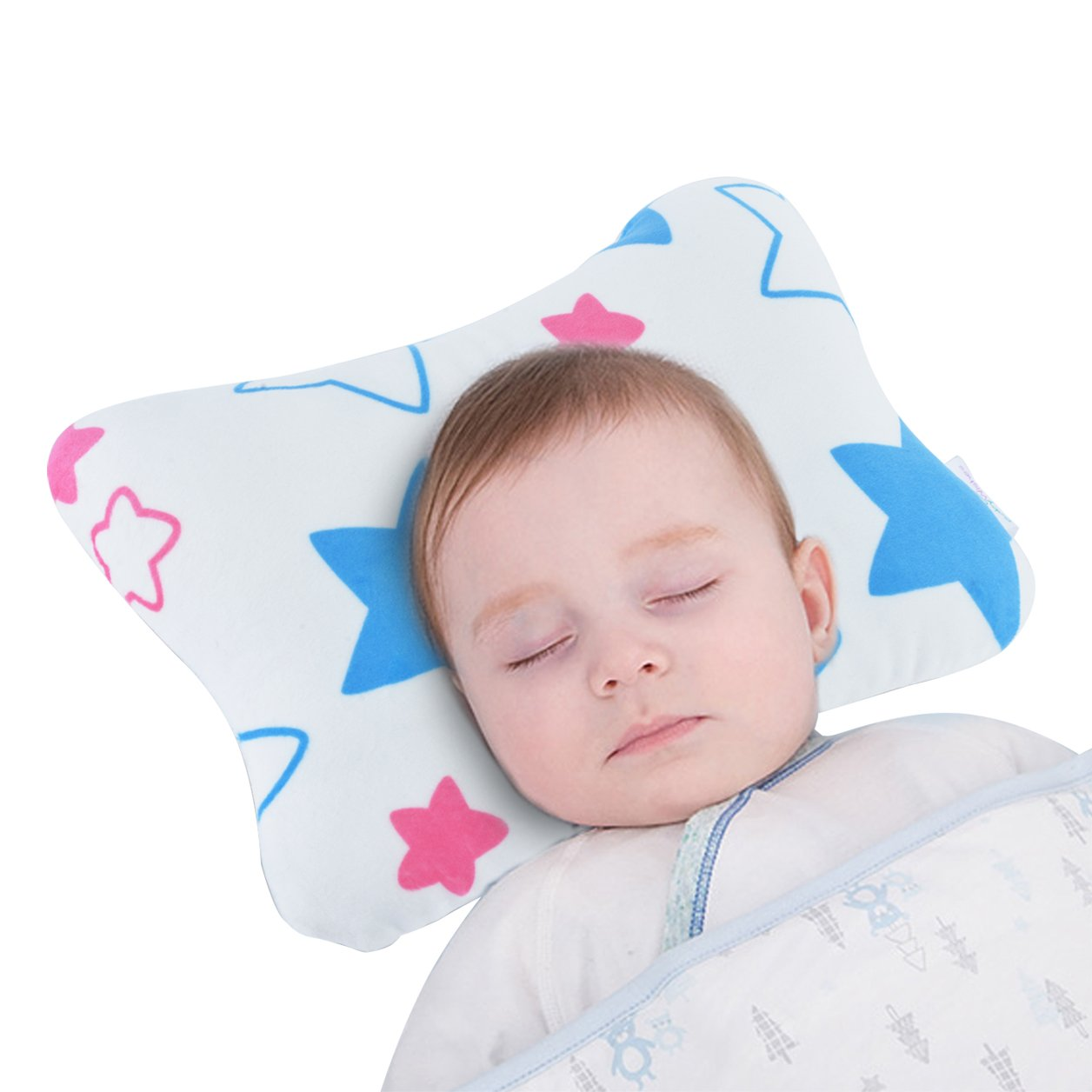 Baby Pillow Prevents Flat Head for Newborns by Baby Wishes | Age 0-3, Ultra-Soft, Breathable, 3D Air Mesh Cotton, Velvety Cover | Comes with Baby Face Towel & Ebook