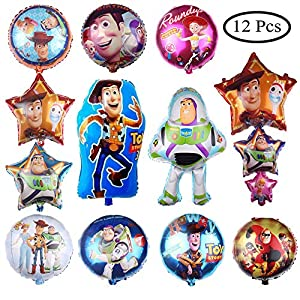 12 PCS Toy Story Balloons Birthday Party Supplies 30″ Foil Balloons for Kids Baby Shower Party Decorations
