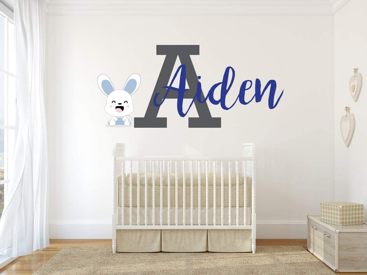 """Custom Name and Initial Baby Bunny Wall Decal - Boys & Girls Personalized Name - Baby Wall Decal for Nursery Bedroom Decoration (Wide 20""""x8"""" Height)"""
