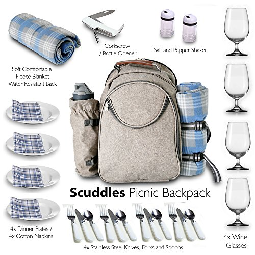 Scuddles Picnic BackPack Basket Cooler Insulated Lunch Bag Tote | Waterproof Set For Camping Marine Travel | includes Tableware Set For Wine Water Beer Marine (Personalized Picnic Basket)
