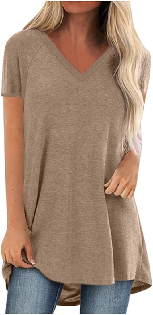 Womens Plus Size V Neck T Shirts Short Sleeve Casual Tunic Tops Solid Color High Low Loose Tees Tops