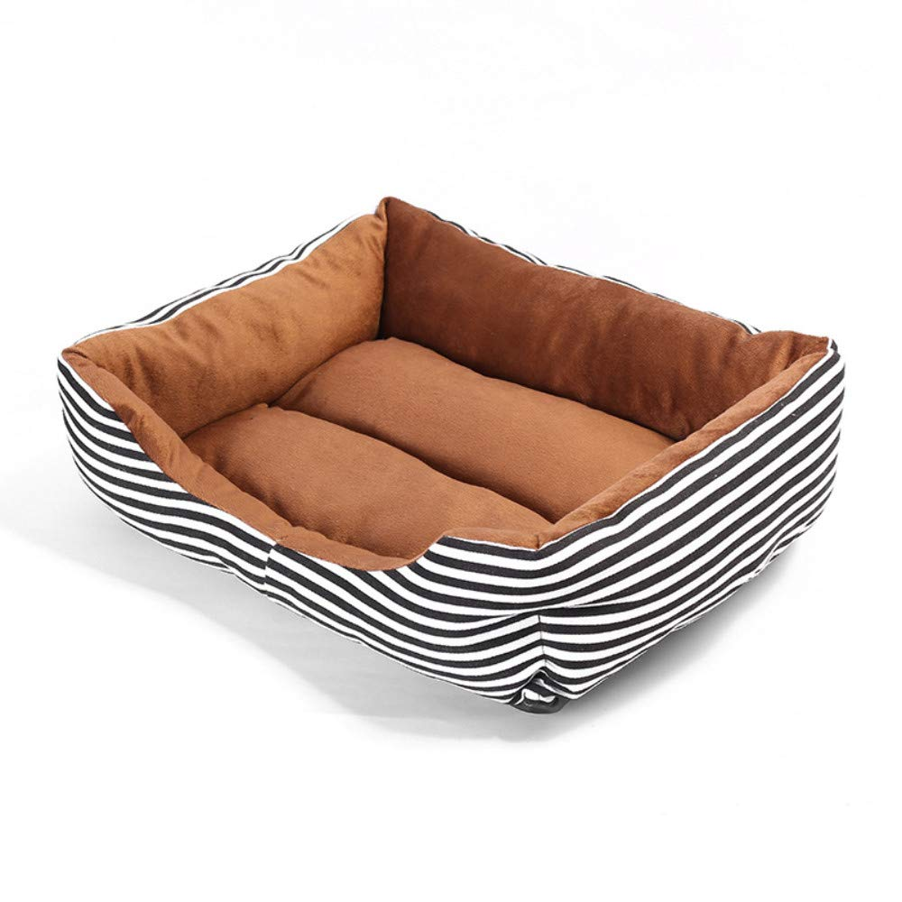 52x40cm WALSITK Dog pad four seasons striped pet square nest small and medium dog conjoined dog sofa black and white pattern, 52x40cm
