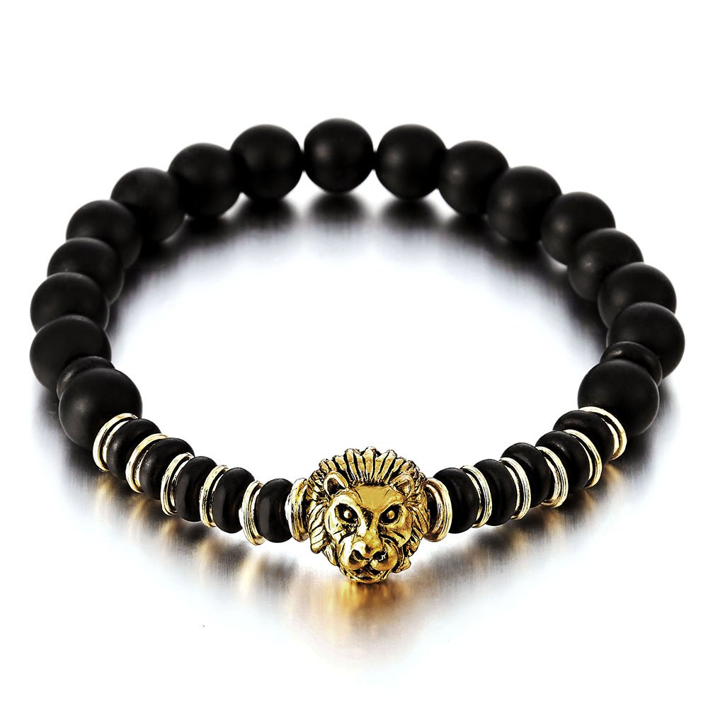 Mens Womens 8MM Black Onyx Beads Link Bracelet with Gold Color Lion Head, Buddhist Prayer Mala COOLSTEELANDBEYOND MB-1089-CA