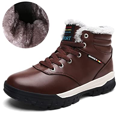 d2f11434e84 Paragon Hommes Bottes Fourrées Hiver Cuir Bottines de Neige Homme  Chaussures Montantes Sneakers Baskets Mode