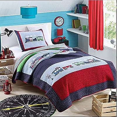 Train Patchwork Bedspreads Quilt Set Twin 2-Piece(1 Quilt 1 Pillowcase) for Kids Boys Girls: Home & Kitchen