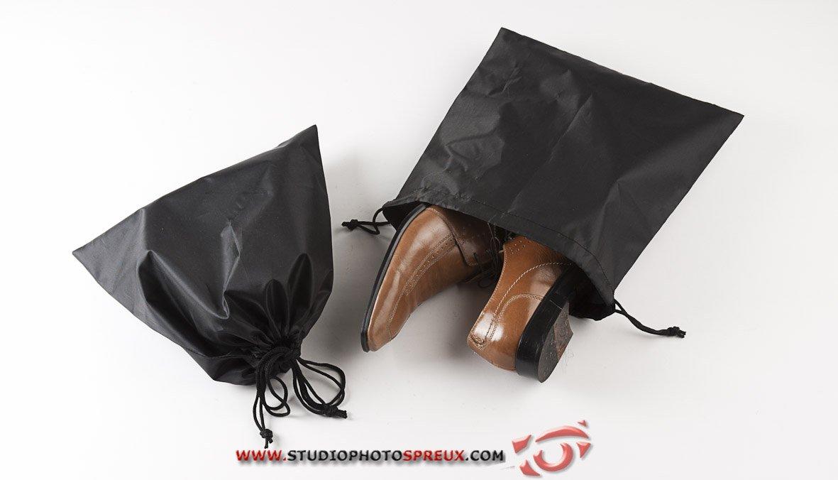 Negro Poli/éster Compactor Set 2 Bolsas para Guardar Zapatos