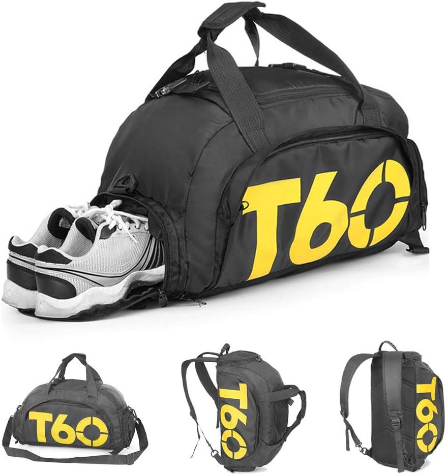 Bolsa de Deporte, Mochila de Gimnasio Fitness Viaje Impermeable Bolsa Fin de Semana Travel Bag Bolsa Plegada con Compartimento para Hombre y Mujer