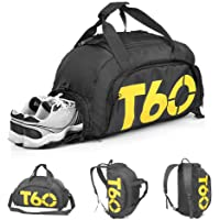 Bolsa de Deporte, Mochila de Gimnasio Fitness Viaje Impermeable Bolsa Fin de Semana Travel Bag Bolsa Plegada con Compartimento para Zapatos Bolsos Deportivos Ideal para Jóvenes y Adultos,Hombre y Mujer