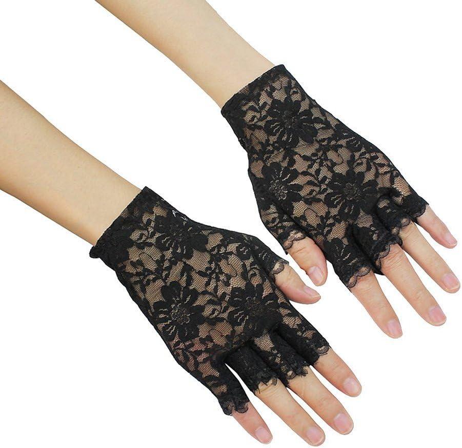 Manyo Hochzeitshandschuhe f/ür Zeremonie lang Zubeh/ör Kost/üm Hochzeit Vintage Satin Damen ohne Finger Handschuhe aus Spitze