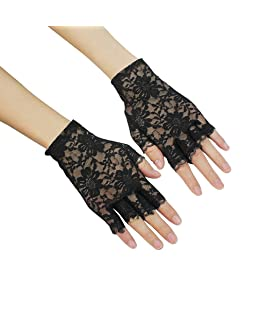 OULII Lace Fingerless gants gothique poignet wedding Party gants 1 paire (noir)