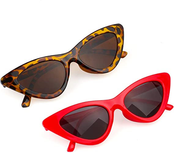 Haichen Retro Vintage Schmale Cateye Sonnenbrille f/ür Frauen Clout Brille Kunststoffrahmen Gl/äser