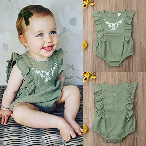 Newborn Toddler Baby Girl Boy Ruffle Sleeveless Romper Jumpsuit Outfits Sunsuit