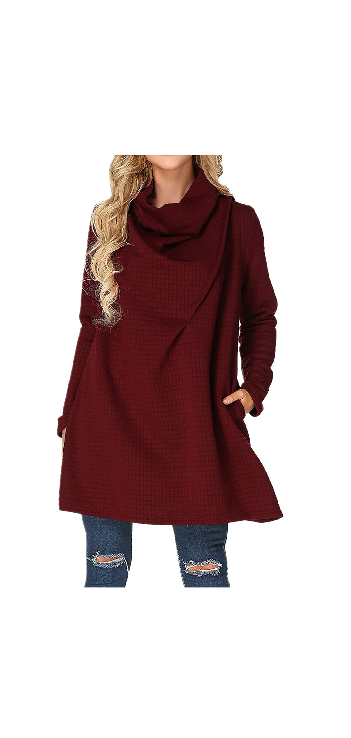 Womens Cowl Neck Sweater Dress Plus Size Long Sleeve Knit