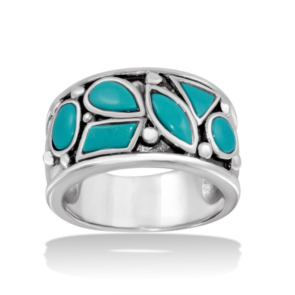 Baby Blue Designer Band Ring High Polished Sterling Silver