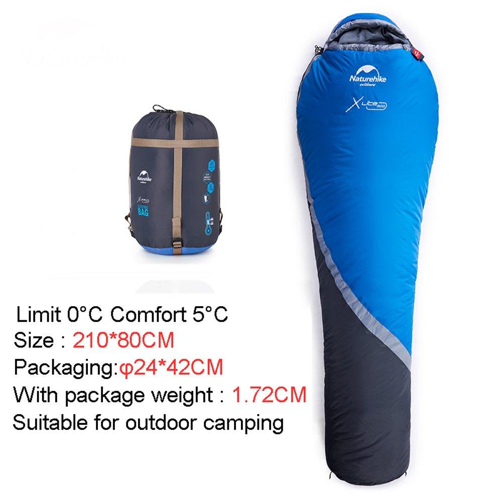 シングルキャンプ用寝袋、シュラフ,冬の厚い暖かいミイラの寝袋、キャンプキャンプ0度の防水バッグ、圧縮バッグ、旅行、キャンプ、ハイキング、アウトドアアクティビティ、屋外の寝袋 B07BTWBPNZ 青 青