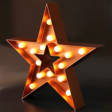 Amazon Com Bright Zeal 13 Large Led Star Marquee Sign Bronze 6hr