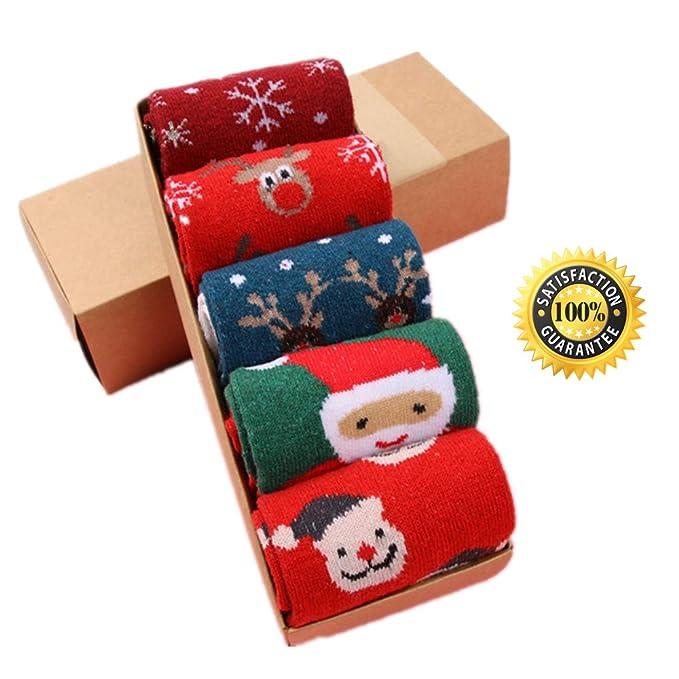 Calcetines de Navidad, Morbuy Set de calcetín de 5 pares Caja De Regalo Para Mujer
