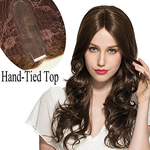 Mono Cap Wig (Namecute Top Hand-Tied Wig Long Curly Mono Wigs Synthetic Fibre Centre Part Lace Hair Replacement Wigs for Women (Dark Brown #2612) ; Free Wig Cap)