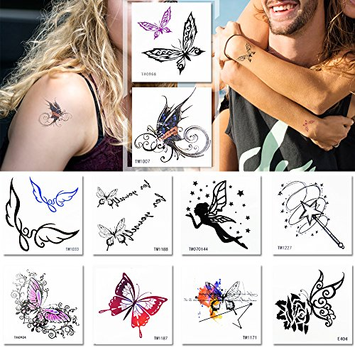 Temporary Tattoos for Women,Set of 10 Glitter Butterflies Tattoos Sticker