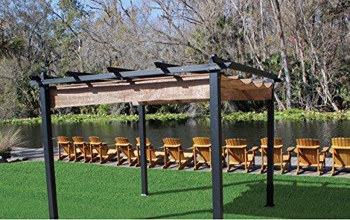 Garden and Outdoor Coolaroo Aurora Pergola, Backyard or Patio Shade Pergola, Light Filtering 90% UV Block, (9'8″ X 9'8″), Smoke pergolas