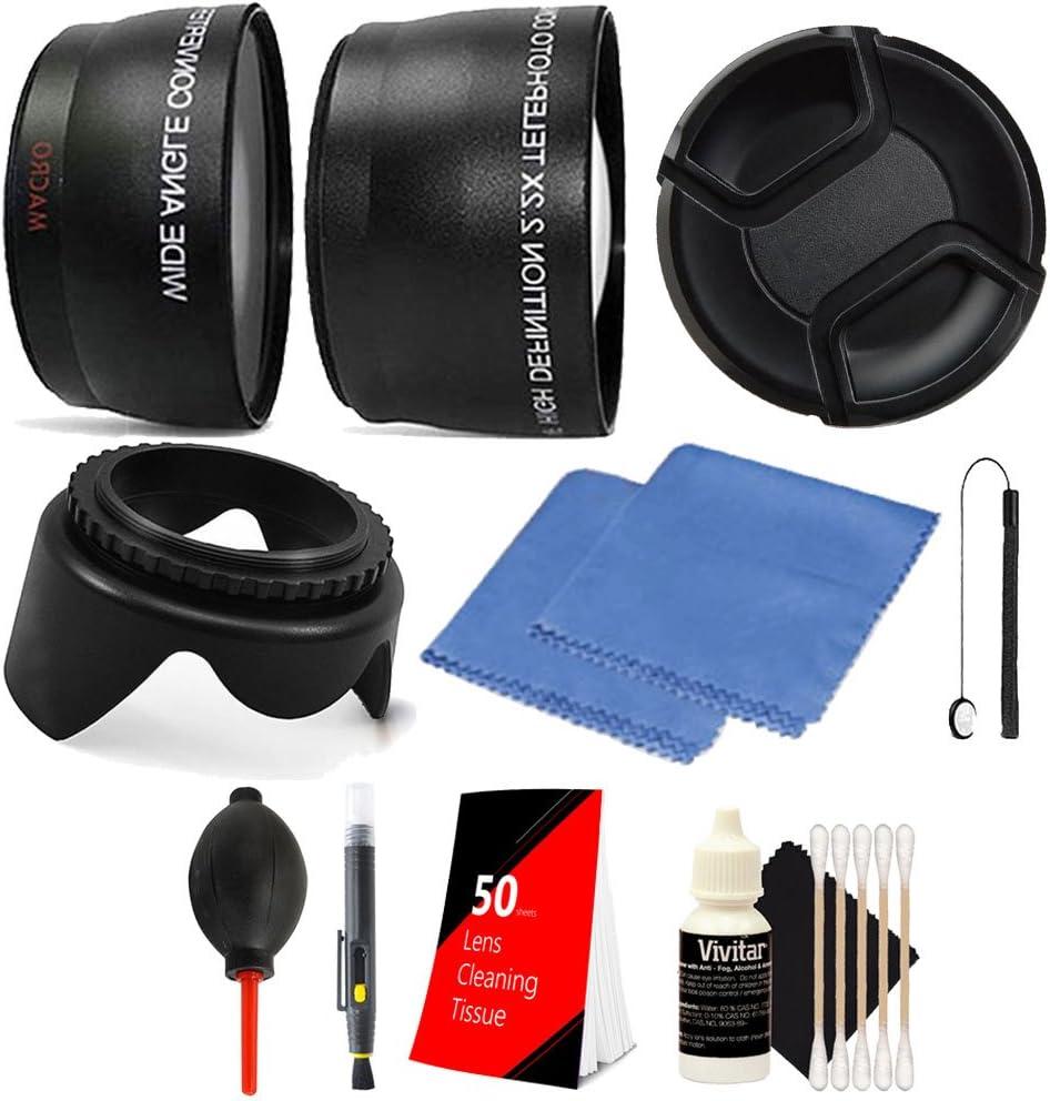 58mm Telephoto /& Wide Angle Lens 50 Lens Tissue Lens Pen Lens Cap Holder Dust Blower Tulip Lens Hood Lens Cap