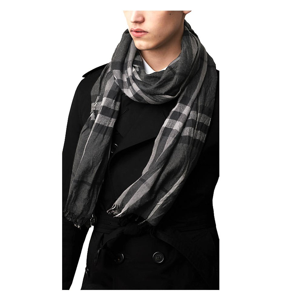 Burberry Lightweight Black Check Wool Cashmere Scarf Unisex Spring Summer Long Scarf