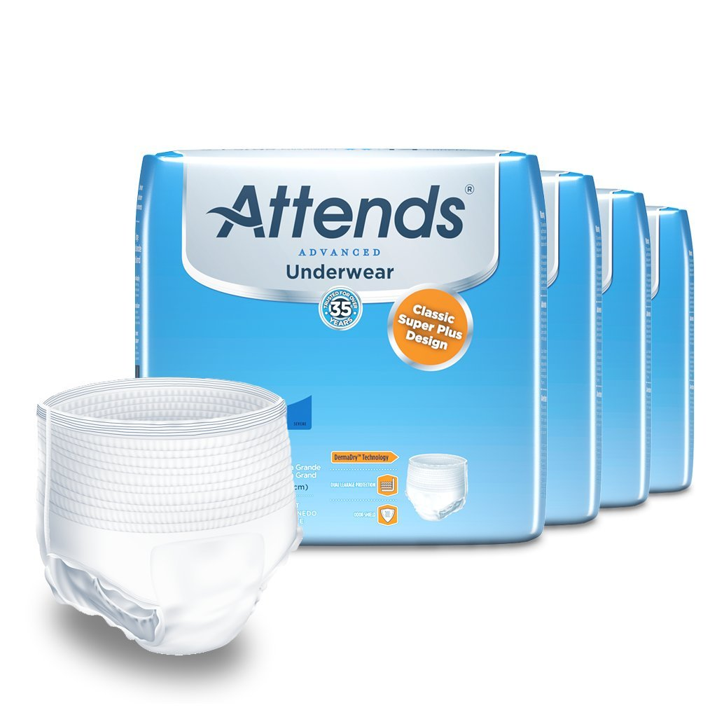Attends Advanced Protective Underwear with Advanced DermaDry Technology for Adult Incontinence Care, X-Large, Unisex ,  14 Count (Pack of 4) (Packaging may vary)