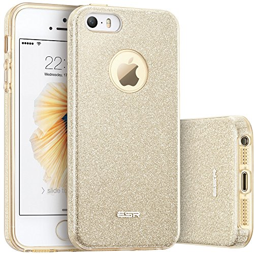 ESR iPhone 5S Case, iPhone SE Case, iPhone 5 Case,Glitter Sparkle Bling Case [Three Layer] for Girls Women [Shock-Absorption] for iPhone 5S/SE/5 (Champagne Gold)