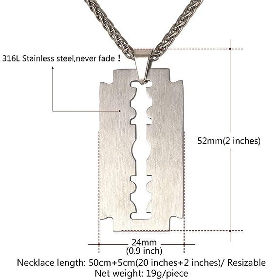U7 Men Cool Necklace Polish Finish Stainless Steel Razor Blade